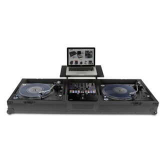 UDG Ultimate Flight Case Set PLX9/SL1200 Black Plus (Laptop Shelf + Wheels)